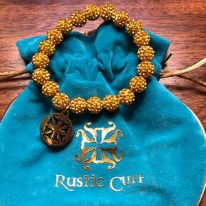 Gold Beaded RUSTIC CUFF Bracelet with gold logo